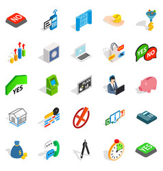 Atm icons set isometric style vector