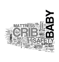baby cribs safety checklist text word cloud vector image