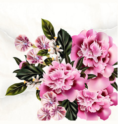 Background for cards design with peony flowers vector