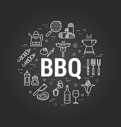 Bbq concept on black vector