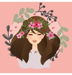 beautiful girls woman with flower around her head vector image