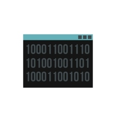 Binary code on screen icon flat style vector image