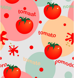 bright tomatoes on colored circles vector image