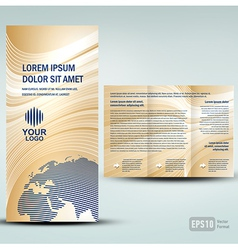 Brochure 3d line globe tri-fold vector image vector image