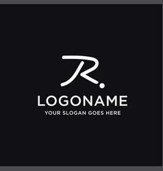 brush line letter r logo icon template vector image