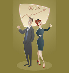 business man and woman proud of their success vector image