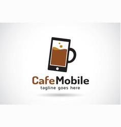 Cafe mobile logo template design emblem design vector