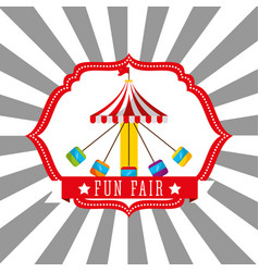 Carnival chairs ride funfair retro label vector