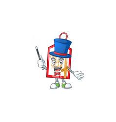 Cartoon character happy new year tag magician vector