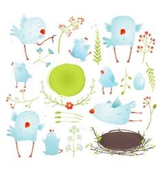 cartoon fun and cute babirds collection vector image
