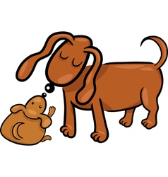 Cartoon puppy and his dog mom vector