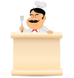 chef cook holding parchment menu vector image