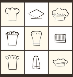Chef hats of all designs monochrome sketches set vector