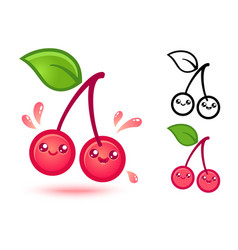 cherry in kawaii style vector image