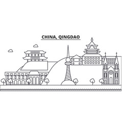 China qingdao architecture line skyline vector