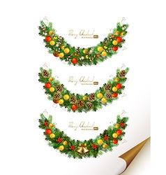 Christmas set of three garland with fir tre vector