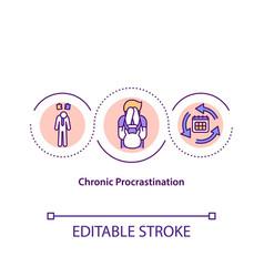 Chronic procrastination concept icon vector