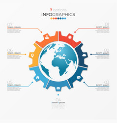 circle chart infographic template with globe vector image