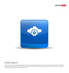 cloud gear icon - 3d blue button vector image