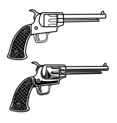cowboy revolver in engraving style design element vector image