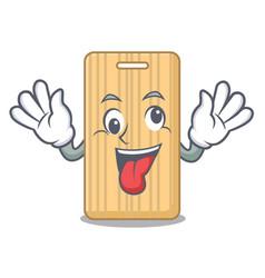 Crazy wooden cutting board mascot cartoon vector