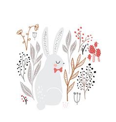 cute cartoon bunny girl in floral elements vector image