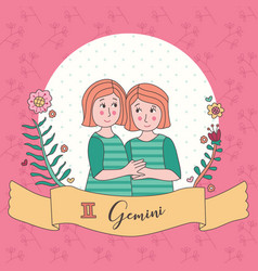cute horoscope zodiac girl gemini vector image
