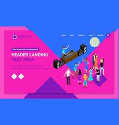 dj club bar concept landing web page template 3d vector image