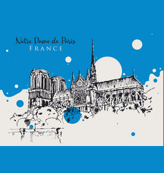 drawing sketch notre dame de paris vector image