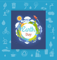 Earth day poster with different seasons vector