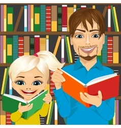 father and his daughter reading books vector image