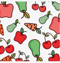Figure vegetables and fruits background icon vector