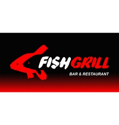 Fish grill logo vector
