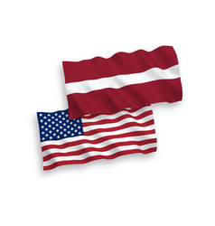 flags latvia and america on a white background vector image