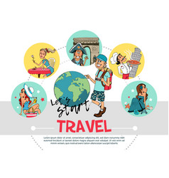 flat travel round concept vector image