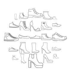 Footwear shoes icon set outline style vector