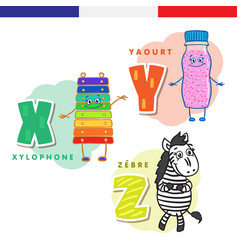 French alphabet xylophone yogurt zebra vector