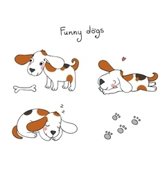 Funny cartoon dogs with a bone vector image