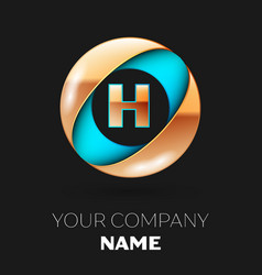 golden letter h logo symbol in blue-golden circle vector image