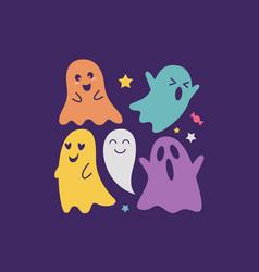 Halloween ghost characters vector