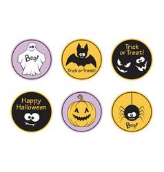 halloween labels set vector image