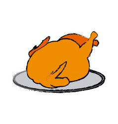 Hot baked roasted chicken on plate vector