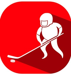 Ice hockey logo on red badge vector