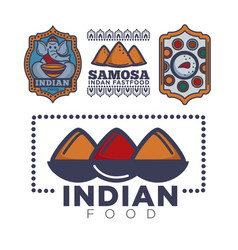 Indian food cafe or restaurant and product icon vector