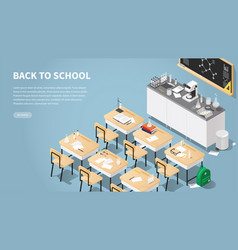 Isometric chemistry classroom landing page vector