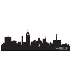 Lansing michigan skyline detailed silhouette vector