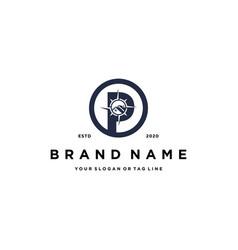 Letter p compass design logo icon concept vector