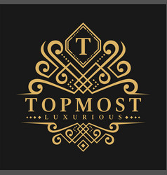 letter t logo - classic luxurious style logo vector image