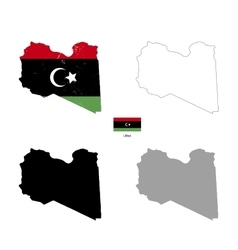 libya country black silhouette and with flag vector image