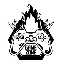 Logo gamepad for play arcade video game vector